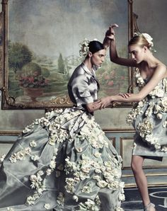 Mariacarla Boscono and Caroline Trentini photographed by Steven Klein for the Spring 2009 Dolce & Gabbana advertising campaign.