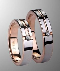 Couple's rose gold tungsten wedding band set with CZ #weddingring