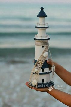 lighthouse for you! Clay Pot Projects, Clay Pot Crafts, Diy And Crafts, Seashell Crafts, Beach Crafts, Summer Crafts, Clay Pot Lighthouse, Lighthouse Decor, Lighthouse Gifts
