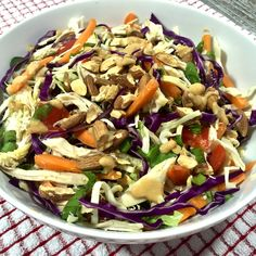 Asian Chicken Salad is a meal fit for dinner with chicken, a healthy and gorgeous assortment of vegetables all topped with a creamy peanut dressing.