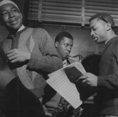 """Wayne Shorter, Lee Morgan and Curtis Fuller at the 1964 Art Blakey """"Indestructible"""" session by Francis Wolff"""