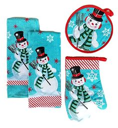 Christmas Snowman Kitchen Towels Set of 4 Bundle Includes 2 Dish Towels an Oven Mitt and Pot Holder ** Check out this great product. #KitchenHomeDecor