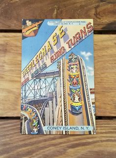 Vintage Postcard Amusement Park Coney Island NY Steeplechase Park Flying Turns Roller Coaster 30's Collectible Paper Ephemera Souvenir by OffbeatAvenue on Etsy