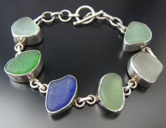 Genuine Sea Beach Glass - Beachcombed Seaglass Bracelet - Sterling Silver