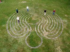 Baltic wheel style labyrinth at Westborough state hospital. Could do this with spray paint anywhere that has the space