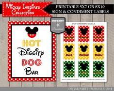 INSTANT DOWNLOAD Mouse Hot Diggity Dog Bar Sign / 5x7 or 8x10 / Free Condiment Labels / Mouse Classic Collection / Item #1509