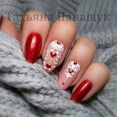 Romantic, cute and lovely valentine's day nails. Make your nails special for this special day. Lace Nails, Silver Nails, Gorgeous Nails, Pretty Nails, Uñas Diy, Valentine Nail Art, Red Nail Designs, Round Nails, Heart Nails