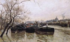 Frits Thaulow (Norwegian 1847–1906) [Impressionism] Flooding by the Seine, 1893.