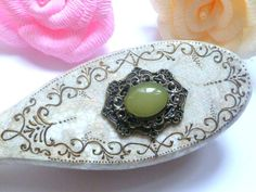 Hand Painted Hair Brush with Brooch by InspirellaDesign on Etsy