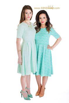 The Nicole dress comes in two shades- aqua and mint! #aqua #mint #lace