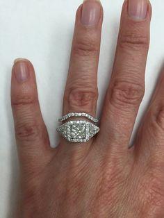 Princess Cut Trillion Diamond Engagement Ring with Matching Wedding Band, Past Present Future Ring, 2.69 TCW Three Stone Ring Set, 14K Gold