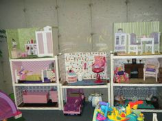 DIY 18 inch Doll House made with plastic shelving, poster board and contact paper