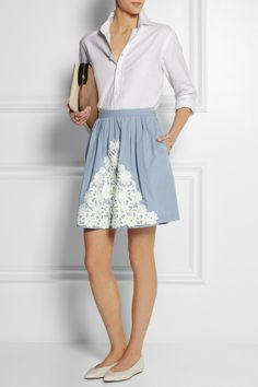 Moschino Cheap and Chic|Lace-appliquéd cotton-chambray skirt|NET-A-PORTER.COM