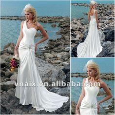W0237 One Shoulder Casual Corset Sheath Sexy Beach Wedding Dress $99.00