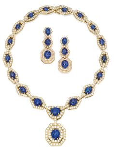 18 karat gold, sapphire, and diamond necklace and matching ear clips.  Marie Poutine's Jewels & Royals: parure