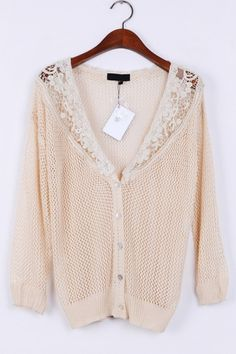 Crocheted Top Button-up Cardigan OASAP.com
