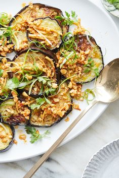Pan-Roasted Eggplant With Peanut-Chile Sauce Recipe - NYT Cooking Vegetable Sides, Vegetable Recipes, Veggie Meals, Ginger Peanut Sauce, Chicken Under A Brick, Sauce Recipes, Cooking Recipes, Roast Eggplant, Crispy Eggplant