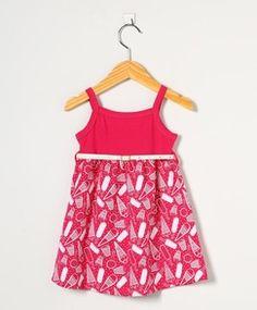 Vestido Bebê Pink com Cinto Creme