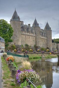 Josselin Castle ~ is a medieval castle built in the 11th century and rebuilt at various times since, Brittany, France