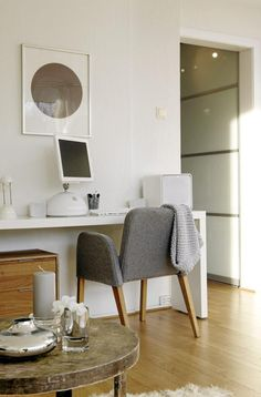 An IKEA Malm Occasional Table used as a desk! I want one of these for a work table in my office/studio!