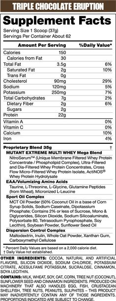 Mutant Whey 2270g PVL | fitnessfactor.ie Discount Supplements, Trans Fat, Saturated Fat, Cholesterol, Facts