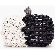 ALEXANDER MCQUEEN Black & White Shell Box Clutch ($3,275) ❤ liked on Polyvore