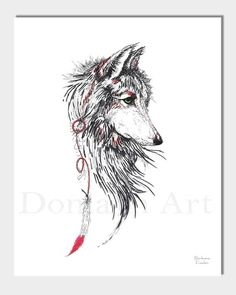 Wolf Art, Spirit Wolf, Feather, Red Feather, #art #print #digital @EtsyMktgTool http://etsy.me/2vD0HrF