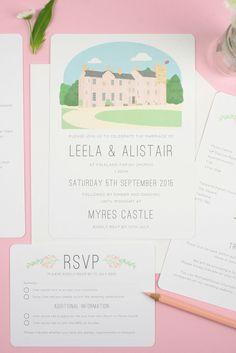 Wedding Invitation With Illustrated Venue Portrait Of Myres Castle In Scotland Bespoke Invitations Your