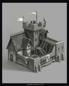 World Building concept. by mikrob. - World Building concept. by mikrob.deviantart… on - Casa Medieval Minecraft, Medieval Houses, Medieval Castle, Minecraft Houses, Fantasy City, Fantasy Castle, Fantasy House, Fantasy Rpg, Minecraft Creations