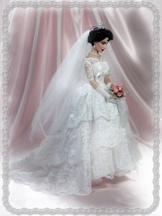 Reproduction of Elizabeth Taylor bridal gown Barbie Bridal, Barbie Wedding Dress, Wedding Doll, Wedding Bride, Bridal Dresses, Wedding Gowns, Beautiful Dolls, Beautiful Bride, Accessoires Barbie