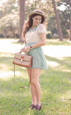Mint Green And White Dress, Vintage Dooney And Bourke, Brown Oxfords