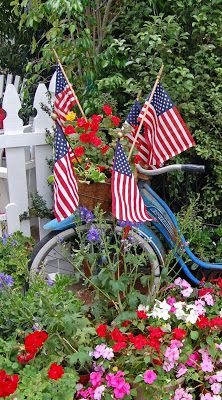 Flowers and flags