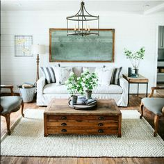 Living Room Inspiration (especially love the old music staff chalkboard!)