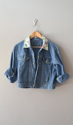vintage jean jacket / 1980s cropped denim jacket / by DearGolden, $45.00