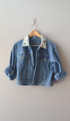 vintage jean jacket / 1980s cropped denim jacket / by DearGolden, $45.00