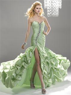 Elegant Mint Sweetheart Ruched Bodice Jewels High Slit Prom Dress PD11201