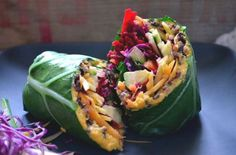 Collard green wrap with carrot-ginger hummus and veg (Pinterest / mybaba.com)