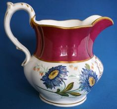 Large Antique Monogrammed Hand Painted Quality Porcelain Jug Initials JBJ Or Antique, Antique Items, Red Band, Initials, Porcelain, Monogram, Hand Painted, Antiques, Ebay