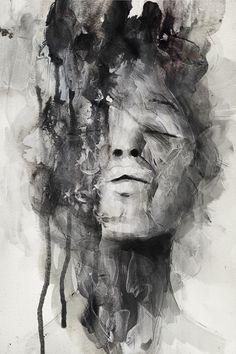 Artist: Januz Miralles {abstract female head woman face portrait mixed media b+w painting} Art Visage, L'art Du Portrait, Expressive Art, A Level Art, Art Graphique, Art Plastique, Painting & Drawing, Painting Portraits, Painting Process