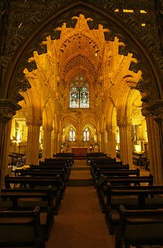 Rosslyn Chapel in Midlothian, Scotland. Founded in the mid-15th century by William Sinclair who was descended from a noble family of Norman knights. It is said to have many Knights Templar symbols, and the chapel was featured in Dan Brown's novel 'The Da Vinci Code'. Very interesting!!!