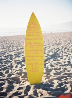 """New Smyrna Beach is the surfing destination in Florida.  This surfboard menu for a beach wedding could kick off the perfect """"theme"""" for your day.  Moontide is right ON the beach in New Smyrna and we'd love to help you with your day... we have room for ALL your friends and family too!  http://TheMoontide.com"""