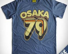 OSAKA 79 ( Heather Dark Blue ) : Unique Hand Screen Printed Vintage Graphic T-shirt --- Sport Retro Athletic Baseball Tee