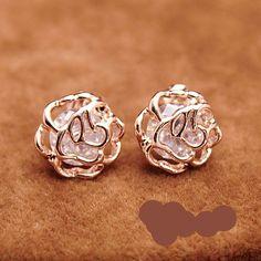 1 Pair Yellow Gold Plated Diamond Rose Pierced Stud Earrings Jewelry