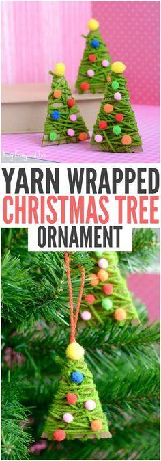 DIY Yarn Wrapped Christmas Tree Ornament - Christmas Ornaments for Kids to Make