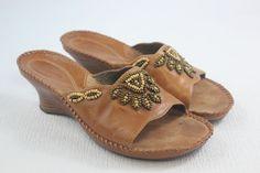 CLARKS ARTISAN 'Empress' Beaded Wedge Sandal Brown #Leather US 7.5 M  | #eBay http://www.ebay.com/itm/CLARKS-ARTISAN-039-Empress-039-Beaded-Wedge-Sandal-Brown-Leather-US-7-5-M-/222541940629?ssPageName=STRK:MESE:IT #wedge