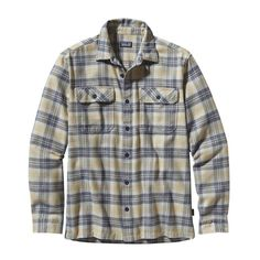 Patagonia Men's Long-Sleeved Fjord Flannel Shirt - Built of heavyweight flannel, the Fjord Flannel Shirt wears soft but tough, and makes a great overshirt when conditions get colder. In Big Haircutter: Bleached Stone Was $89 Now $44