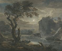 """Paul Sandby(1730 or 1731-1809)Music by MoonlightObject typeLandscapeDate1782or 1788Medium""""Watercolor, pen and brown and gray ink, touched with gouache on moderately thick, cream, slightly textured wove paper""""DimensionsHeight: 289 mm (11.38 in). Width: 346 mm (13.62 in).Current location  Yale Center for British Art"""