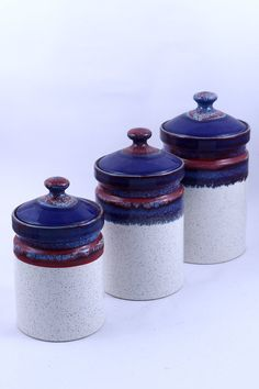 Ceramic Kitchen Containers #blue #container #kitchenware #jars #handicrafts #handmade #wowtrendy