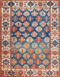 Click here to view this gorgeous blue background overall design antique Persian Bakshaish rug 49202 by Nazmiyal in New York.