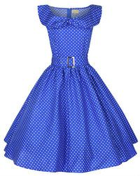 NEW POLKA DOT BOW SHAWL COLLAR VINTAGE 1950's ROCKABILLY SWING PARTY DRESS